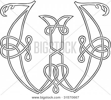 Celtic Knot-work Capital Letter W