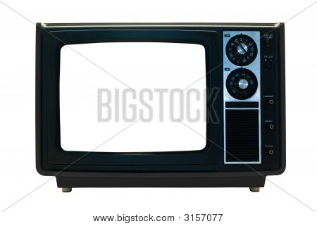 Black Retro Tv Isolated With Clipping Paths