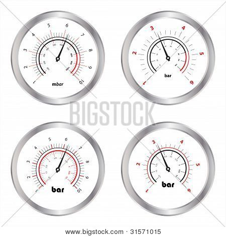Set Of Manometers, Isolated On White Background