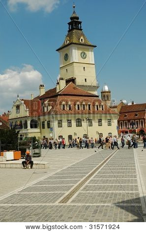 BRASOV, ROMANIA - AUGUST 15: The council square. In 2010 Brasov turns 775 years from the first histo