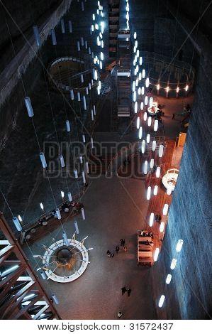 Tourists visiting the Turda Salt Mine