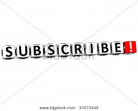3D Subscribe Block Text  On White