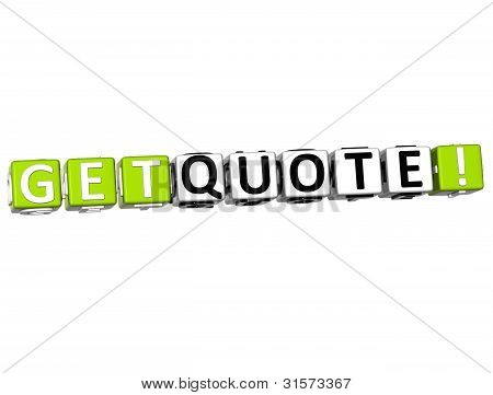 3D Get Quote Block Text  On White