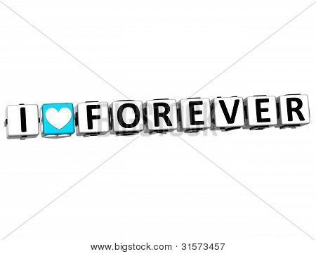 3D I Love Forever Crossword Block Text