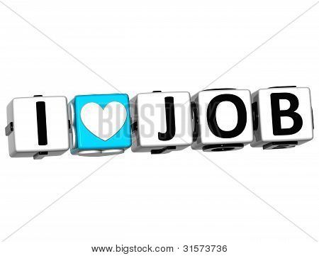 3D I Love Job Crossword Block Text