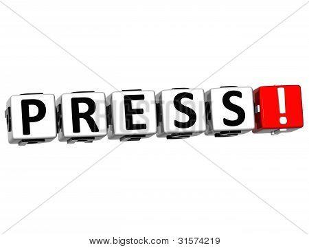 3D Press Block Text  On White