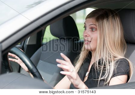 Before accident - young woman driving car