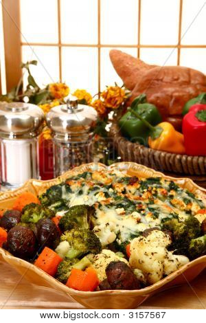 Spinach Feta Strata And Herb Baked Vegetables