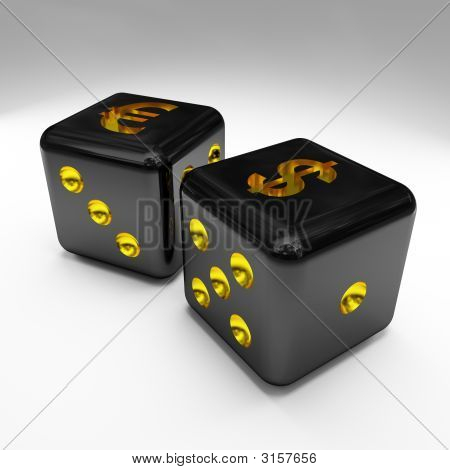 Image 3D Of Dice With Dollar And Euro Sign 02