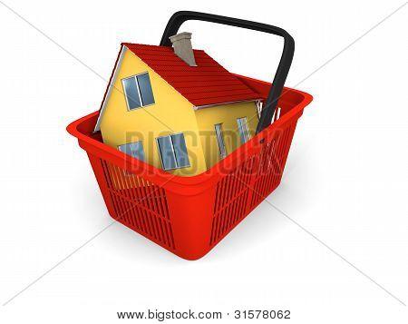 Modell des Hauses in den Einkaufskorb