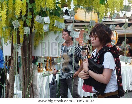 Bangkok März 7 2012 Makha Bucha Tag. der Baum der Banknote.
