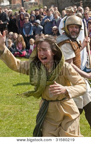 Actress plays a woman crying and emotional about the crucifixion