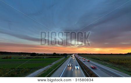 Autobahn A5 at dusk, Germany