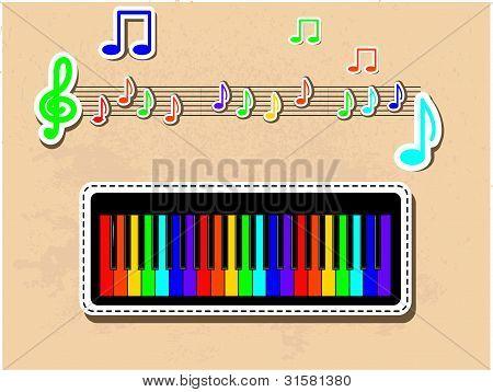 Piano and notes musical set.