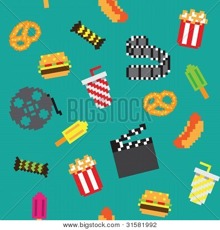 Movie retro game seamless pattern