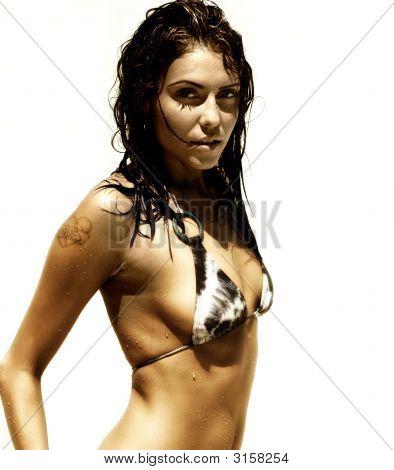 Dsc_5370Sexy Fitness-Modell mit Brünette Haare tragen Bikini