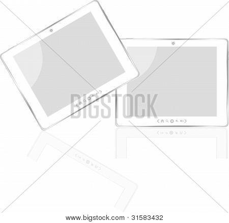white vector tablet pc ipad with white screen isolated