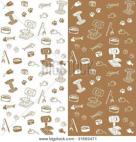 Cat supplies seamless pattern