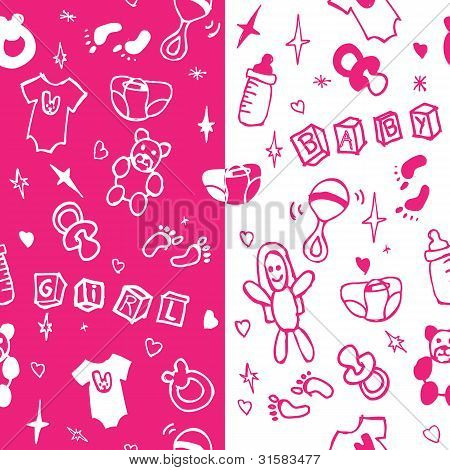 Baby girl seamless pattern