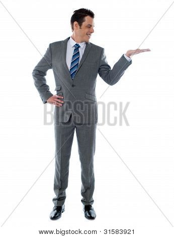 Happy Businessman Giving Presentation