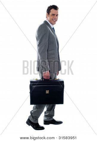 Going Business Man Holding Briefcase