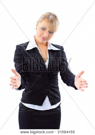 Portrait of a business woman bragging about the size of something with hand over white background