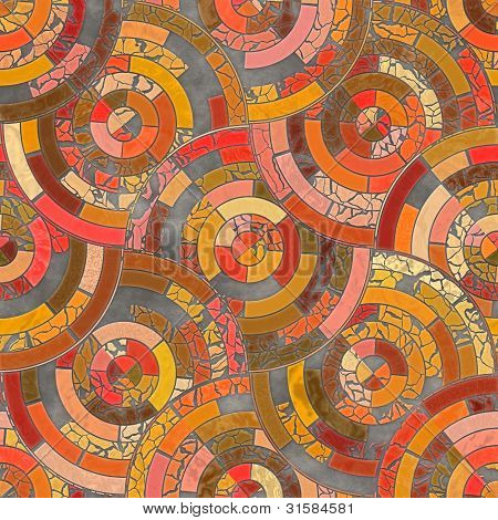 Seamless Mosaic Radial Orange and Blue Background