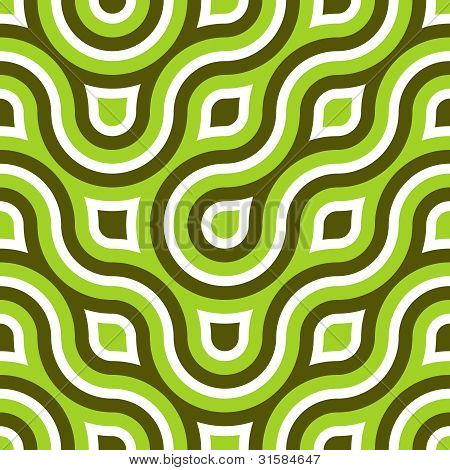 Funky Wild Circle Seamless Pattern Lime Green White