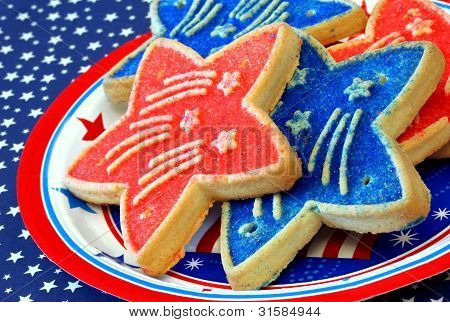 Red and blue star shaped cookies for July 4th