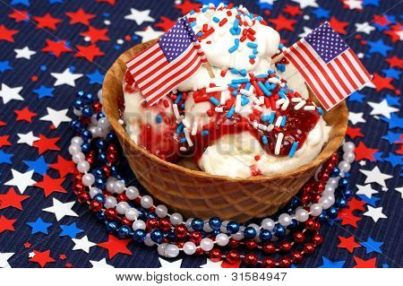 Ice cream sundae decorated for July 4th