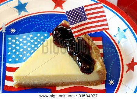 Cheesecake and Blueberries decorated for July 4th
