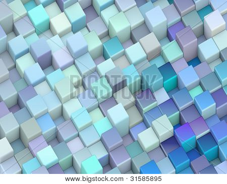 Abstract 3D Render Backdrop Cubes In Different Shades Of Blue
