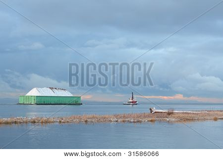 Winter Tug and Barge Snow