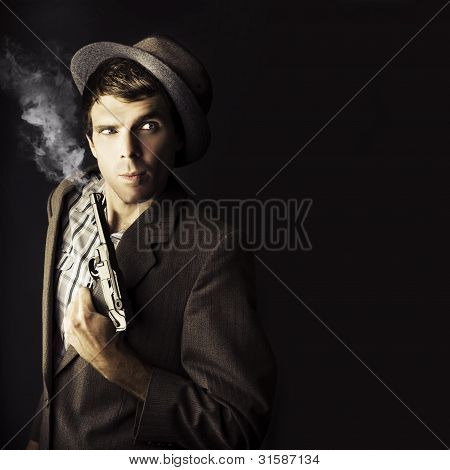 Dangerous Business Man Holding Gun
