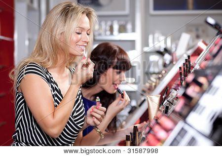 Women buying cosmetics in a beauty store
