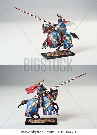 Toy Tin Soldier Tournament Knight on horseback