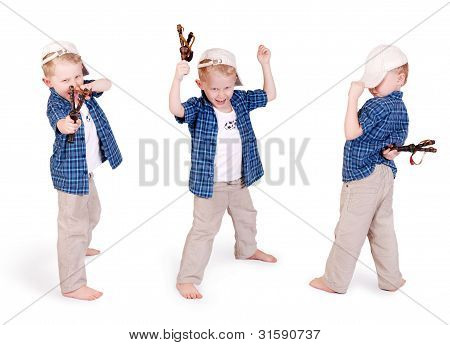 Three Images Of Little Madcap With Slingshoot