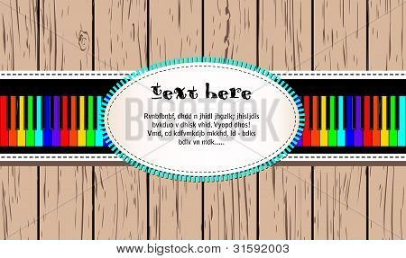 Wooden card with rainbow piano and text