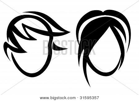Womans And Mans Haircut Symbol