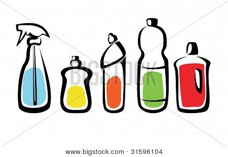 Set Of Bottles With Washing Agents