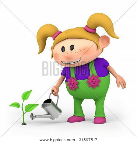 Girl Watering Sprout