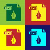 Color Eps File Document. Download Eps Button Icon Isolated On Color Background. Eps File Symbol. Vec poster