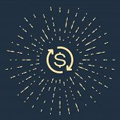Beige Return Of Investment Icon Isolated On Dark Blue Background. Money Convert Icon. Refund Sign. D poster