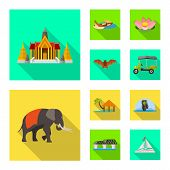 Vector Design Of Journey And Exotic Icon. Collection Of Journey And National Stock Symbol For Web. poster