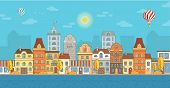 Sunny Autumn City Background. Horizontal Banner With Copy Space For Text. Cute Town Concept Horizont poster