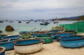 Cam Lap Nha Trang.  Boats With Fishermen, Crab Traps, Round Boats In Vietnam, Traditional Round Viet poster