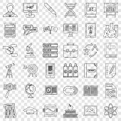 College Icons Set. Outline Style Of 36 College Icons For Web For Any Design poster