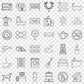 Comfortable House Icons Set. Outline Style Of 36 Comfortable House Icons For Web For Any Design poster