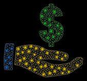 Bright Mesh Dollar Salary With Glow Effect. Abstract Illuminated Model Of Dollar Salary Icon. Shiny  poster