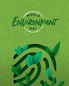 World Environment Day Papercut Illustration Of Human Finger Print With Green Plant Leaves. Ecology A poster